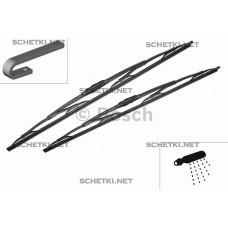 Дворники Bosch twin 2 шт. в упаковке 650/550 мм. Крючок с форсунками